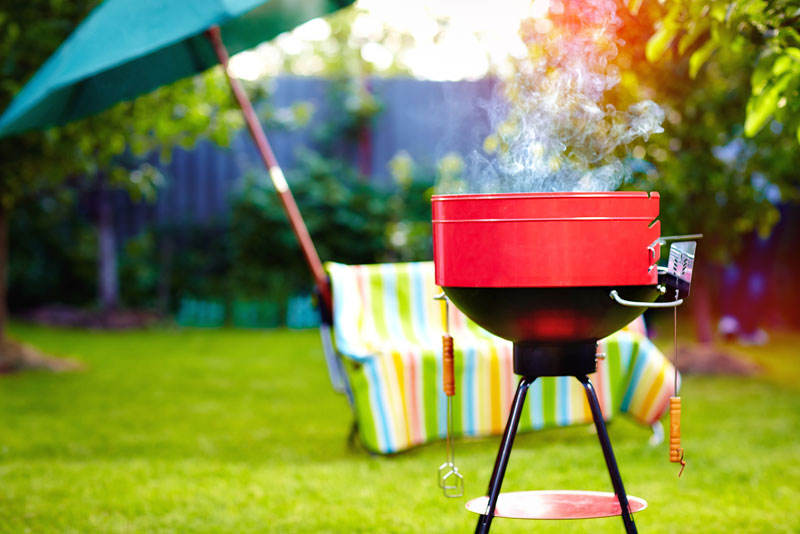 a barbecue in a garden