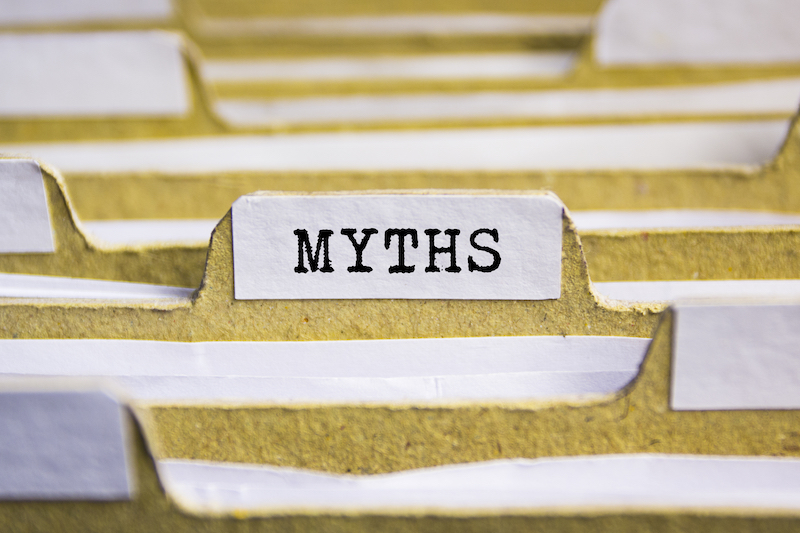 the word myths on a folder